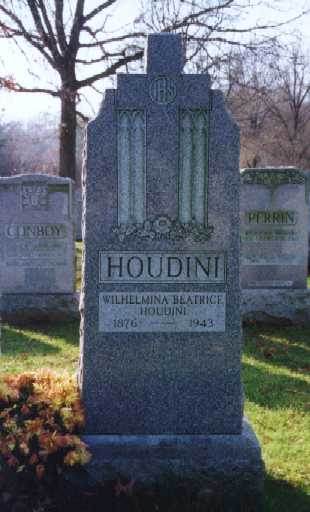 Houdini tied to railroad tracks written up in Bess Beatrice Rhaner Houdini Grave site